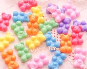 Glittery Gummy Bears Fake Sweets Cabochon / Kawaii Cabochon / Sweets Deco - 7pcs