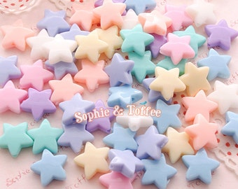 Pastel Star Beads (13mm) / Pastel Beads / Chunky Star Beads - 50g (97pcs approx.)