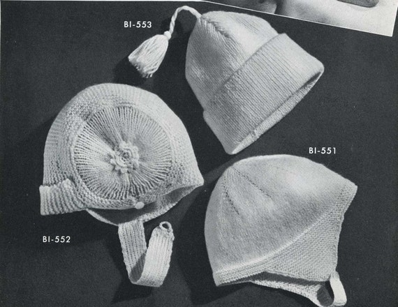 Vintage Knitting Patterns Baby Hats : Vintage Knitting PATTERN B1 553 Three Baby Hats 1950s PDF