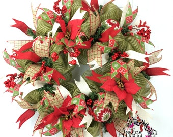 Burlap Christmas Wreath in Moss Green with Red with Sweater Ornaments & Ribbon, Rustic Christmas Wreath, Red Poinsettia Christmas Wreath