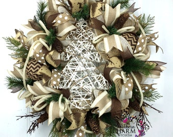 Rustic Christmas Wreath in Cream Brown & White with White grapevine Tree -Rustic Holiday Wreath -Shabby Chic Holiday Wreath -Woodsy