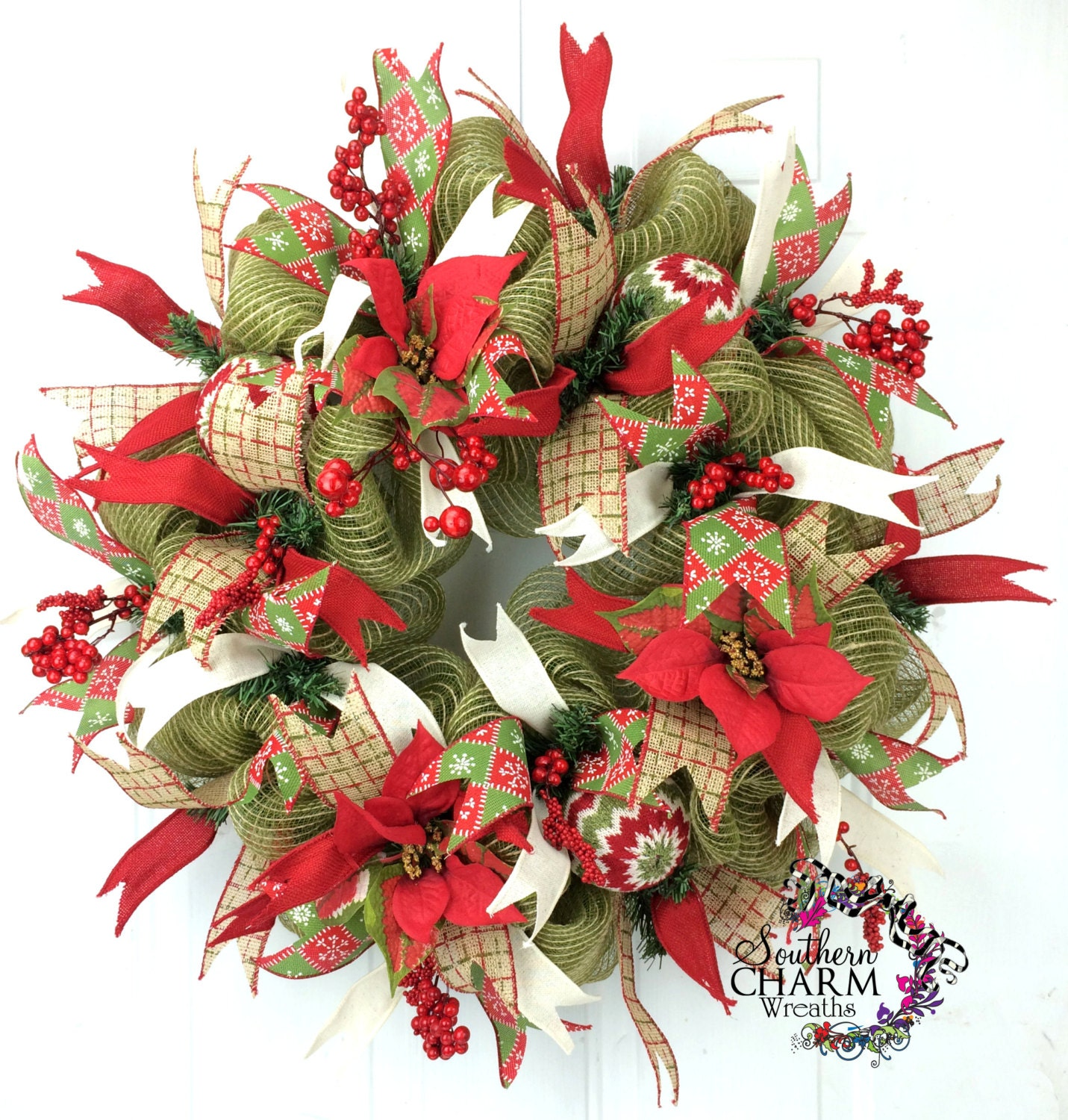 Burlap Christmas Wreath In Moss Green With Red With Sweater