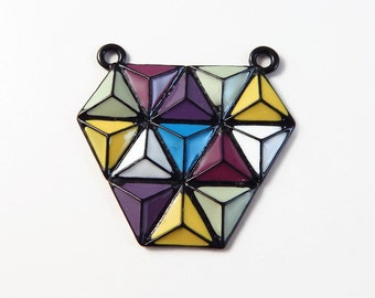 Geometric Enameled charm pendant - colorful pendant