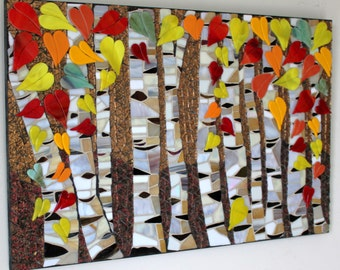 CLEARANCE SALE:  Mosaic, Stained Glass, Birch Trees, Autumn, Fall, Forest, Foliage, Color