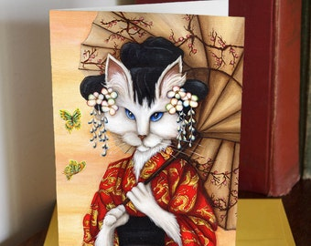 White Cat Geisha Wearing Red Kimono 5x7 Greeting Card