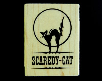 SALE   Inkadinkado Scaredy Cat Halloween Wood Mount Rubber Stamp