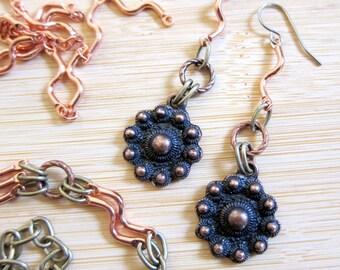Rustic Copper Bronze Link Earrings
