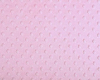 Light Pink Minky Dot Cuddle Fabric by the yard