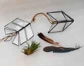 Geometric terrarium - Stained glass terrarium and planter for indoor garden - hanging arrow trinket holder in dark bronze finish