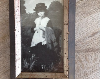 Vintage Black and White Framed Print of A Young Girl