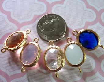 2 pcs, Bezel Links Connectors Charm Pendants, Brass Framed Bezel Set GLASS Stone, pick colors, Gold or Silver Plated, 20x12 mm, GC2.mm ll