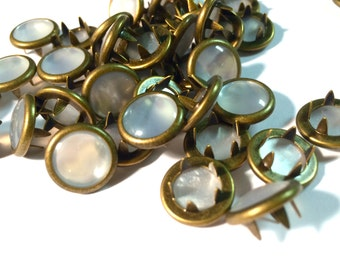 Limited Edition 24 Marbled White with Antique Bronze Rims Cowgirl Snaps Pearl Prong Western Snaps