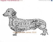 Dachshund Art Print Wiener Dog Art Calligram Drawing, Wiener Dog Art Typography Illustration or Calligraphy Drawing Unique Pet Portrait