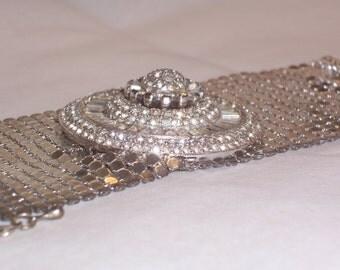 Vintage Upcycled Rhinestone Bracelet