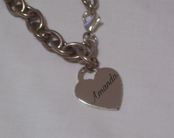 Vintage Chain Link Bracelet with Engraved Amanda