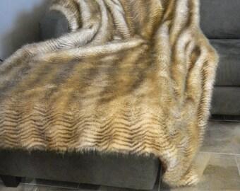 Throw Striped Feline F aux Fur Caramel   MARK DOWN SALE
