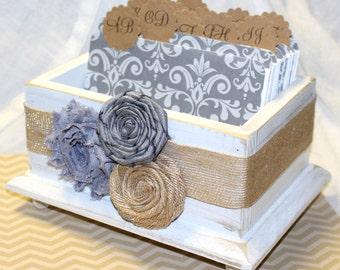 GUEST Box, Advice Box, Guest Book Box, Rustic Wedding, Charcoal Gray, Burlap, Neutral, Advice Box, Custom Colors