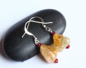 Citrine Earrings, Garnet Earrings, Sterling Silver - Golden Ice by CircesHouse on Etsy