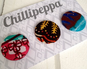 Badge buttons 1 inch African wax print SET OF THREE