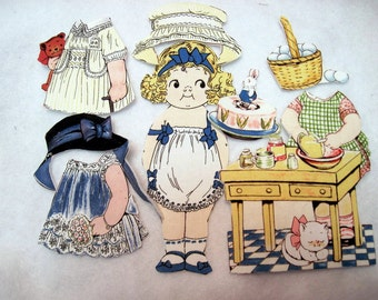 Fabric paper doll child travel toy church toy Angela