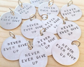 Handstamped Charms, Hand stamped Charms, Sterling Silver Charms, Jewelry Tags, Handstamped Jewelry, Sterling Disc, 3/4 inch