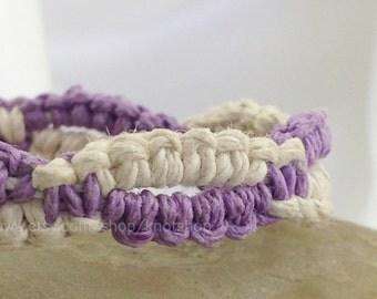 White and Lavender Purple Macrame Hemp Bracelet or Anklet - 7 Inches - Unique Hemp Jewelry