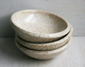 RESERVED for Nicole - Three Small Rustic Speckled Bowls In Creamy White Glaze Earthy Ceramic Bowls Ready to Ship Made in USA