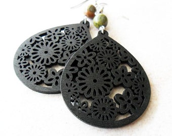 Black Floral Wooden Earrings with Unakite Stone Beads