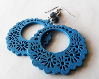 Blue Wooden Floral Hoop Earrings with Montana Blue Glass Bead