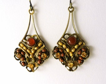 Micro Mosaic Beaded Earrings, Red, Yellow