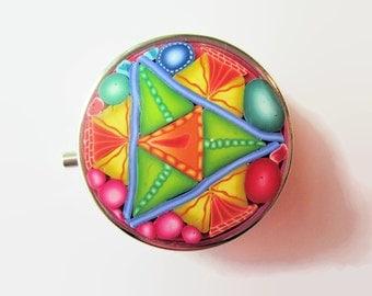 Pill Box, Pill Case with Intricate Multi-colored Design