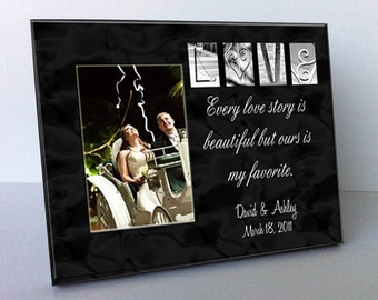 "Love  Architectural Name Alphabet Letter Art Personalized Black and White 8""x10"" Frame with a 4""x6"" Opening"