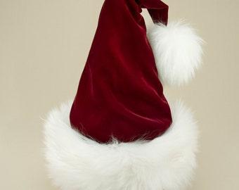 Rudolph Wine Velvet Santa Hat, Reversible