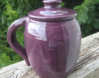 large covered mug, purple