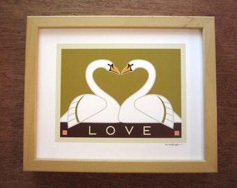 Swans, Love, Art Print