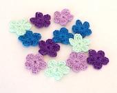 Crochet Flowers Set of 12 Purple Lavender Blue Teal
