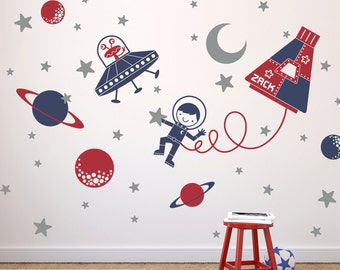 Space Walk Boy Wall Decal Personalized Name Rocket Capsule, UFO, Astronaut, Planets, Stars Moon Baby Nursery Kids Room
