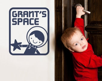 Space Boy Name Room Sign Wall Decal Outer Space Cute Astronaut Personalized Room Decor