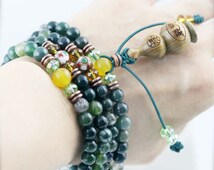 Pacifying 108 small japa mala (SJM) -  moss agate, jade, Chinese cloisonne, robles hulu and micro mantra