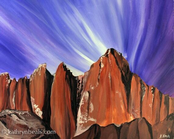 Mt. Whitney, Yosemite Landscape Painting - Digital Photo Print