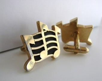 Vintage gold and  black music note cuff links