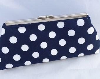 Navy Polka Dot Handbag Clutch- Ready to Ship