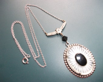 Antique Art Deco Silver Camphor Glass & Black Onyx Pendant Chain Necklace