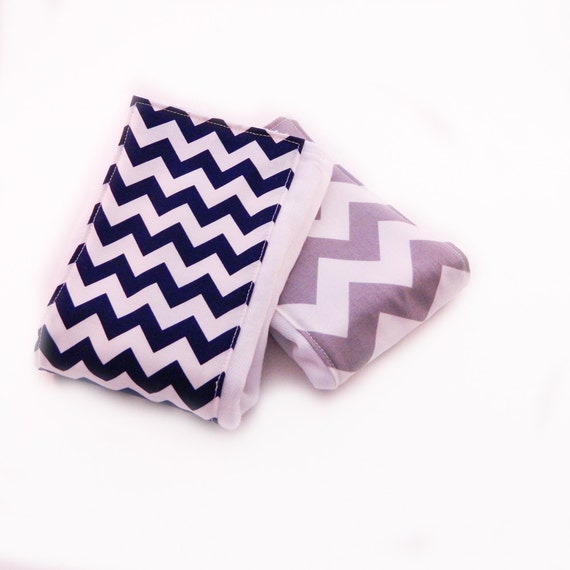 Chevron Burp Cloths Boy - set of 2 - Your Choice Navy Gray Boy Burp Cloth // Cotton Diaper Burp Cloth / Baby Shower Gift