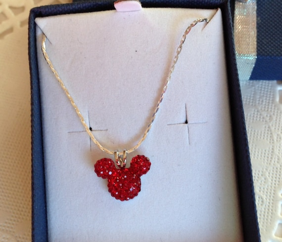 Mickey MOUSE EARS Necklace-Disney Flower Girl-Wedding Party-Bright Red Acrylic