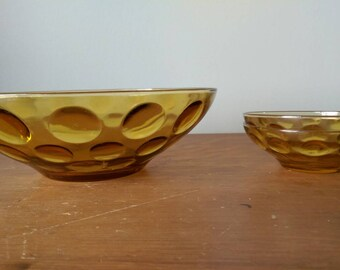 Vintage Amber Glass Bowl Set with Circle Relief Pattern