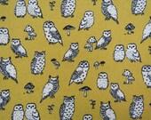 2511C -- Retro Owls Fabric in Mustard Yellow, Owl and Mushroom, Cute Birds Fabric, Animal Fabric