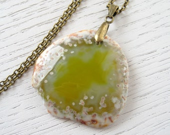 Olive Green Crystal Agate Pendant Necklace with Oxidized Brass