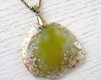 SALE - Olive Green Crystal Agate Pendant Necklace with Oxidized Brass