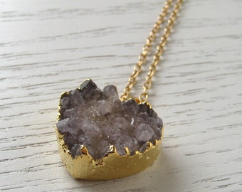 Natural Druzy Heart Shaped Amethyst Pendant Necklace